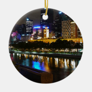 The Stunning Yarra And Melbourne Skyline at Night Round Ceramic Ornament