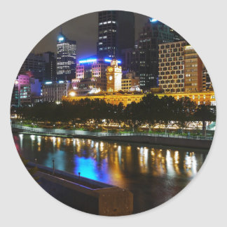 The Stunning Yarra And Melbourne Skyline at Night Round Sticker