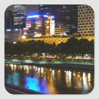 The Stunning Yarra And Melbourne Skyline at Night Square Sticker