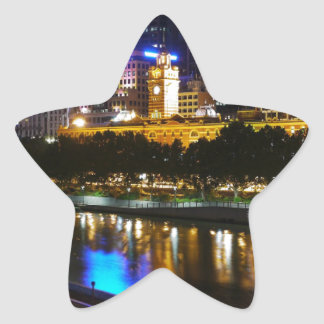 The Stunning Yarra And Melbourne Skyline at Night Star Sticker