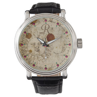 THE SUN AND MOON ,ANTIQUE  PARCHMENT MONOGRAM WRIST WATCH