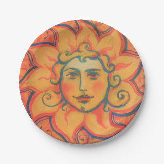 """""""The Sun"""", fantasy art, orange and red colors 7 Inch Paper Plate"""