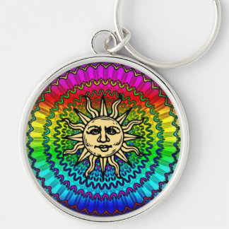 The Sun God on Colors of THe Sun Silver-Colored Round Keychain