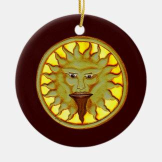 The Sun God (Ra) Round Ceramic Ornament