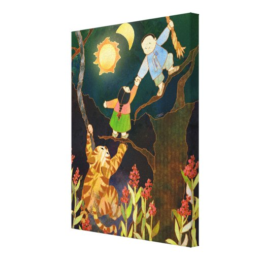 The Sun & Moon Korean Folk Tale Canvas Art (11x14) Gallery Wrap Canvas