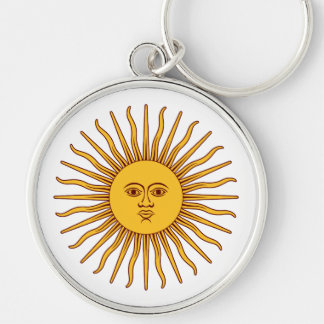 THE SUN OF MAY (Sol De Mayo) ~ Silver-Colored Round Keychain