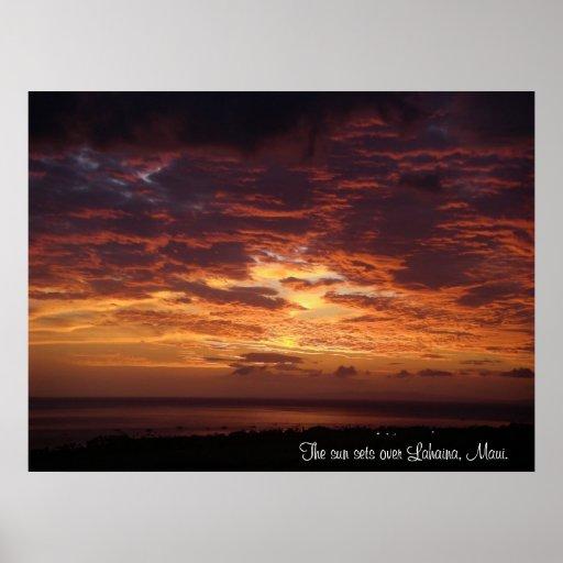 The Sun Sets Over Lahaina, Maui Posters