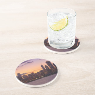 The sun sets over the Chicago skyline Drink Coasters
