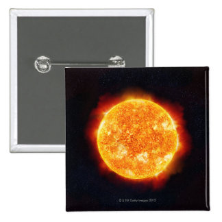 The Sun showing solar flares against a star 2 Inch Square Button