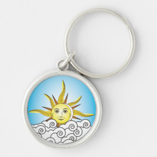 THE SUN Silver-Colored ROUND KEYCHAIN