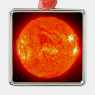 The Sun Silver-Colored Square Ornament