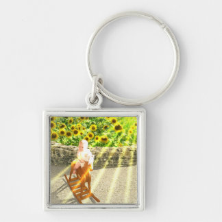 The Sun Tarot Card Art Silver-Colored Square Keychain