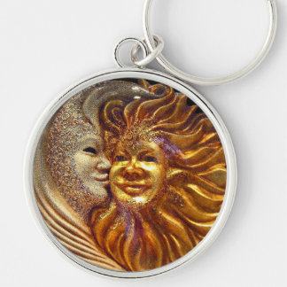 The Sun, The Moon, The Kiss Silver-Colored Round Keychain