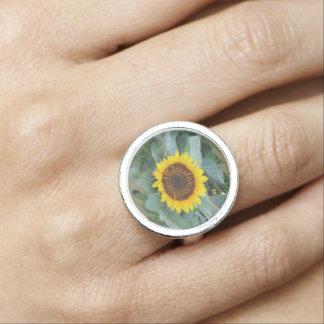 The Sun Will Shine Again Sunflower Silver Ring