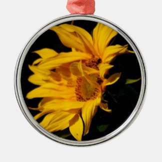 The Sunflower and the bee Silver-Colored Round Ornament
