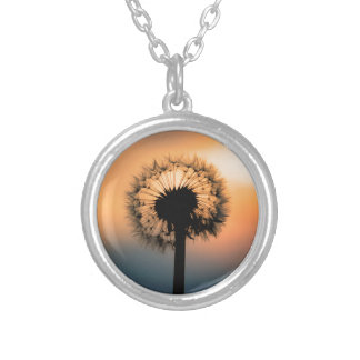 The Sunset and the Fragile Dandelion Silver Plated Necklace