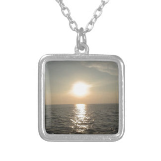 The Sunset at Bantayan Island in the Philippines Silver Plated Necklace