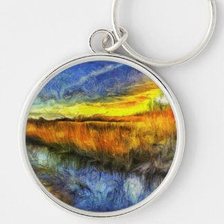 The Sunset River Van Gogh Keychain