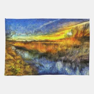 The Sunset River Van Gogh Kitchen Towel