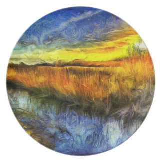 The Sunset River Van Gogh Plate