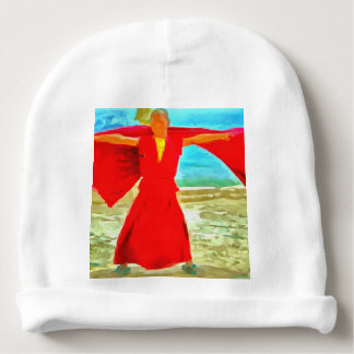 The super fit monk in red baby beanie