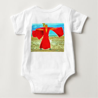 The super fit monk in red baby bodysuit