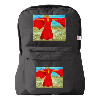 The super fit monk in red backpack
