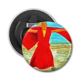 The super fit monk in red bottle opener