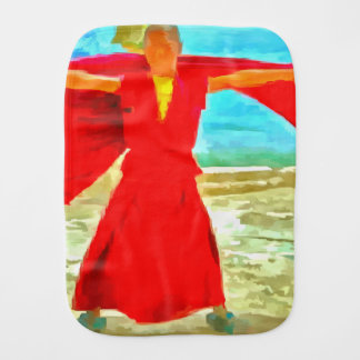 The super fit monk in red burp cloth