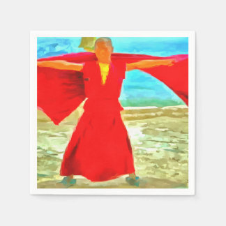 The super fit monk in red disposable napkins