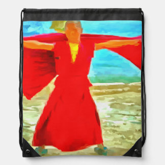 The super fit monk in red drawstring bag