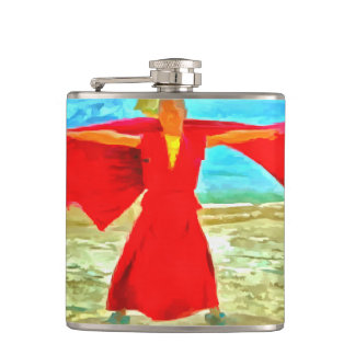 The super fit monk in red hip flask