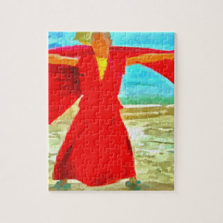The super fit monk in red jigsaw puzzle