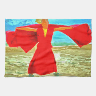 The super fit monk in red kitchen towel