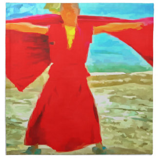 The super fit monk in red napkin
