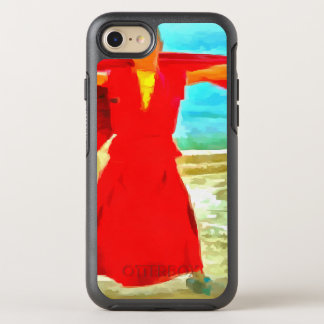 The super fit monk in red OtterBox symmetry iPhone 8/7 case