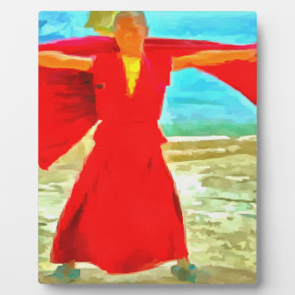 The super fit monk in red plaque