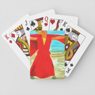 The super fit monk in red playing cards