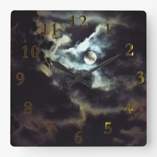 the super moon square wall clock