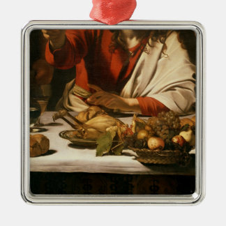 The Supper at Emmaus, 1601 Silver-Colored Square Ornament