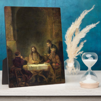 The Supper at Emmaus, 1648 (oil on panel) Plaque