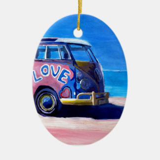 The surf Bus Series - The Love Surf Bus Ceramic Ornament
