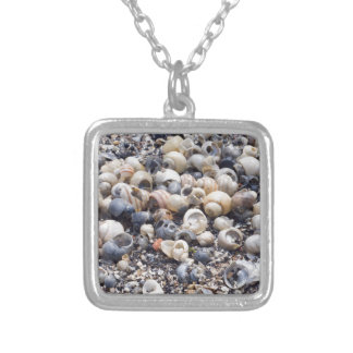 The surface of the sea coast with blur background silver plated necklace