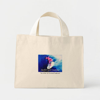 The Surfer Girl Summer Trademark book bag. Mini Tote Bag