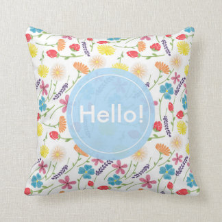 The Sweet Colorful Little Flowers Throw Pillow