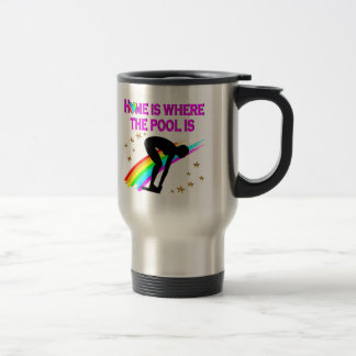 THE SWIMMER IS ALWAYS READY FOR THE POOL TRAVEL MUG