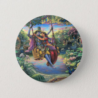The Swing Pastime - Radha and Krishna 2 Inch Round Button