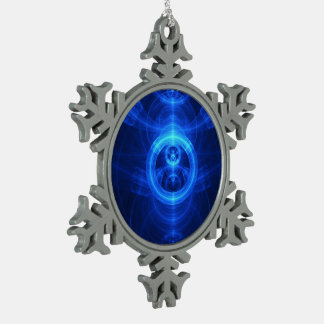 The Symbol of Purpose, Blue Glass Fractal Circles Pewter Snowflake Ornament