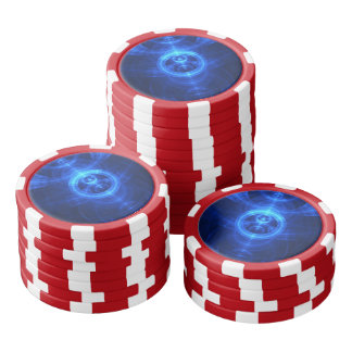 The Symbol of Purpose, Blue Glass Fractal Circles Poker Chips