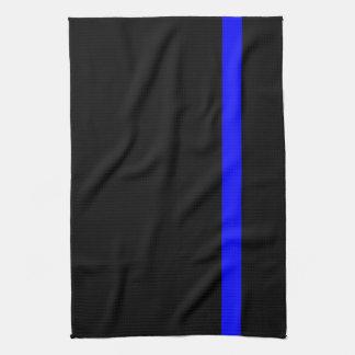 The Symbolic Thin Blue Line on a black decor Kitchen Towel